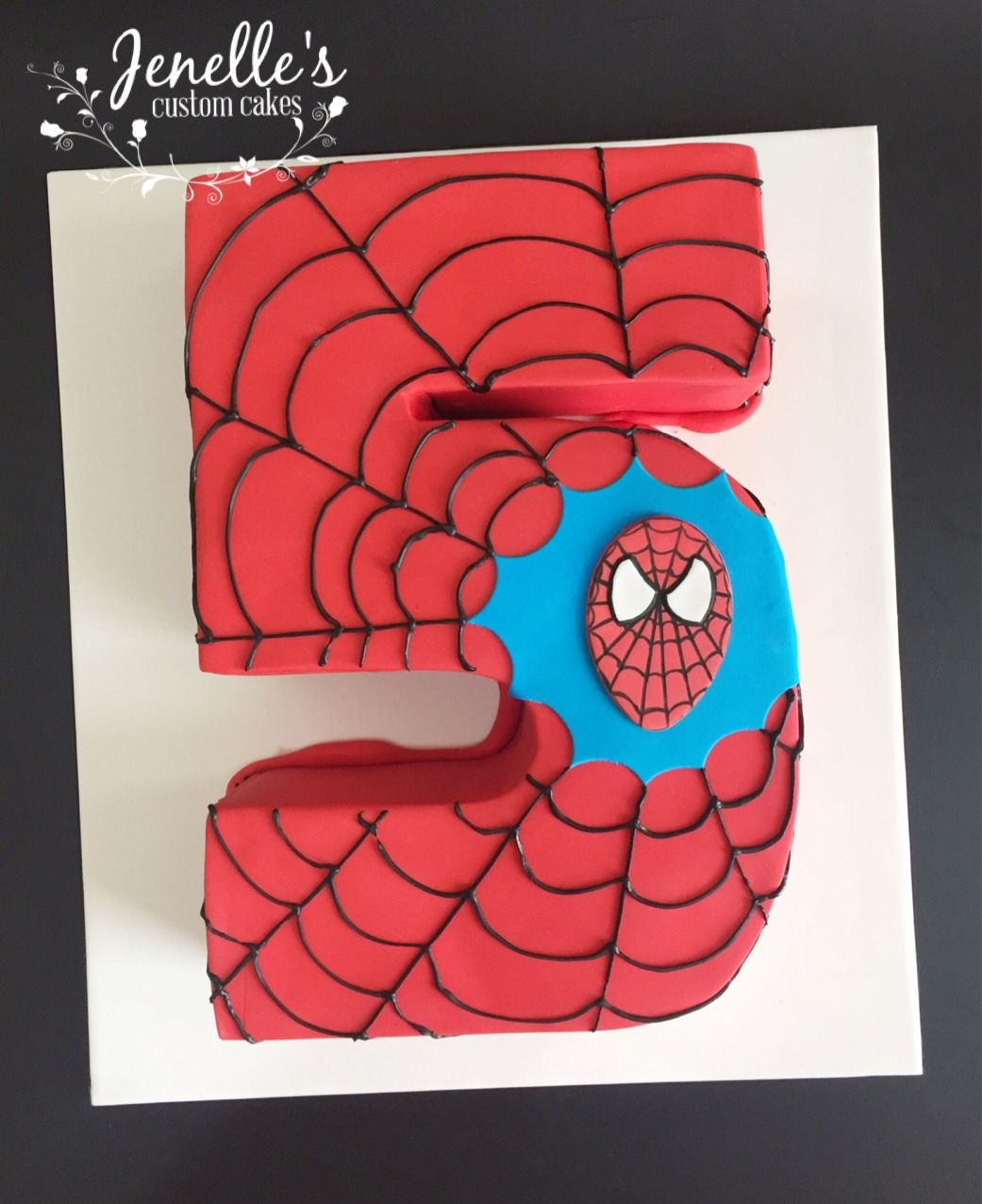 Number 5 Spiderman cake. By Jenelle's Custom Cakes.