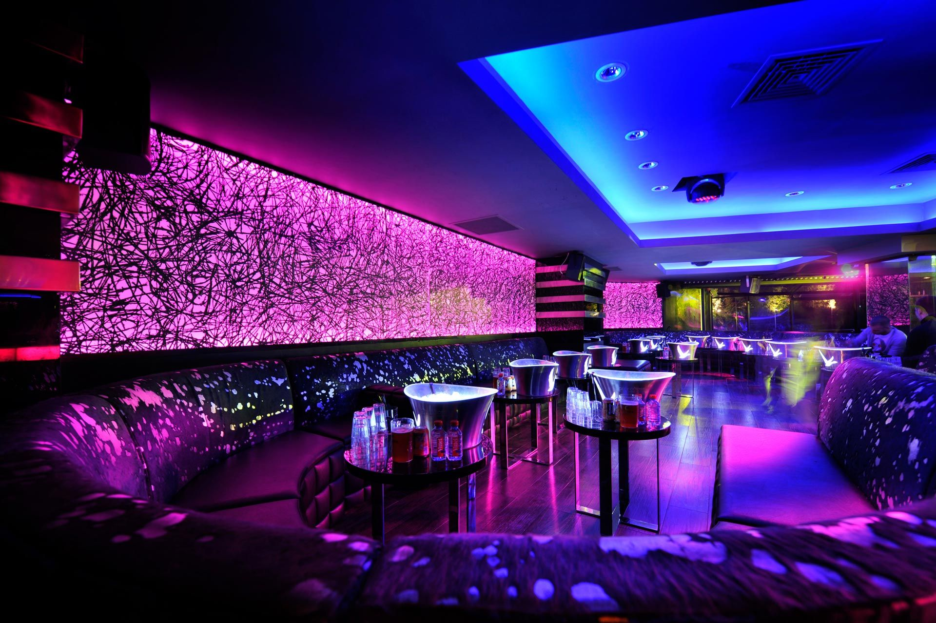Wonderful Neon Lights In A Night Club Lounge HD Desktop Background Wallpaper Free