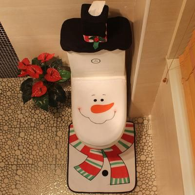 Santa Claus Toilet Seat Cover And Rug Bathroom Set Contour Christmas Decorations For Home Papai