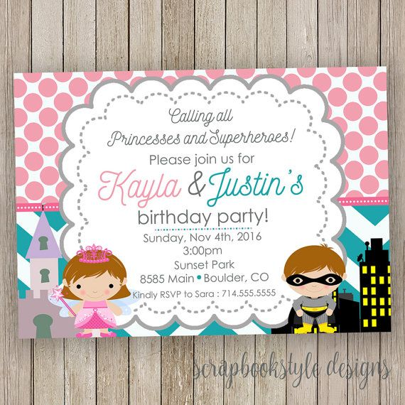 princess and superhero birthday invitation by