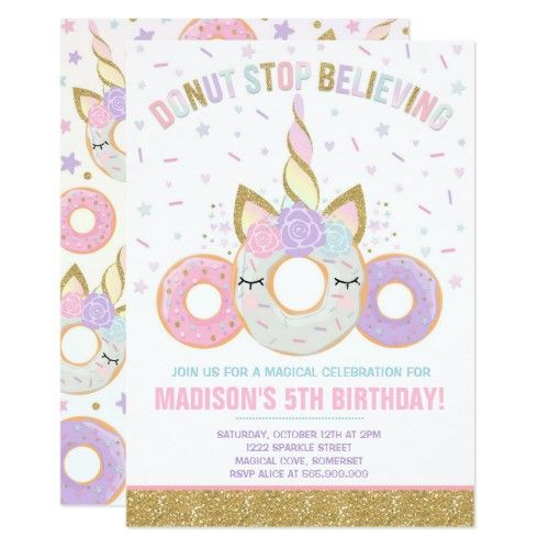 Donut And Unicorn Invitation Donut Stop Believing   Zazzle com - Unicorn invitations, Unicorn birthday invitations, Donut birthday party invitations, Unicorn party invites, Donut birthday parties, Unicorn birthday - Donut And Unicorn Invitation Donut Stop Believing Birthday Invitation The Glitter effect within this design is a digital image made to look like real glitter   High quality and still gorgeous, but no actual real glitter will be used in the making of this product   All designs are © PIXEL PERFECTION PARTY LTD