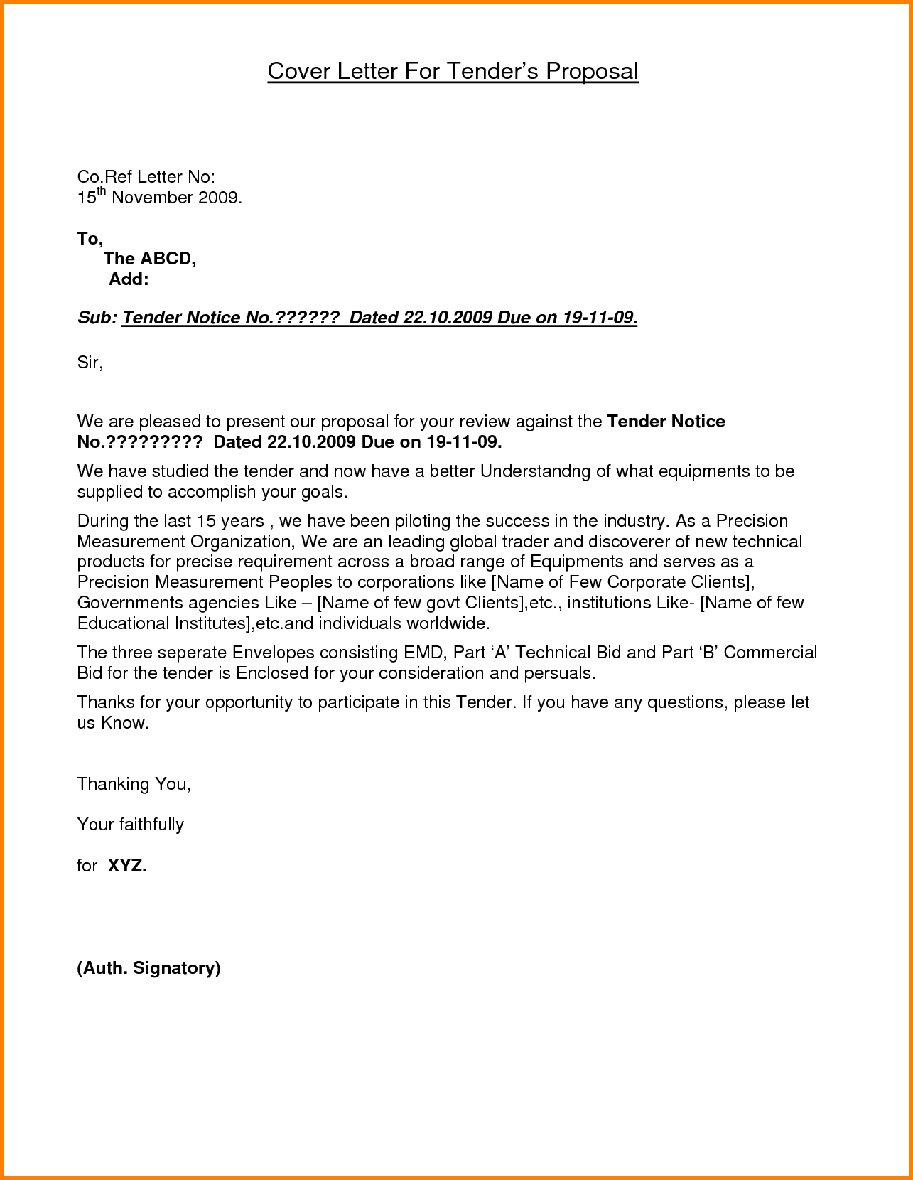 Application Letter Of Tender  Quote Templates  Lexar F