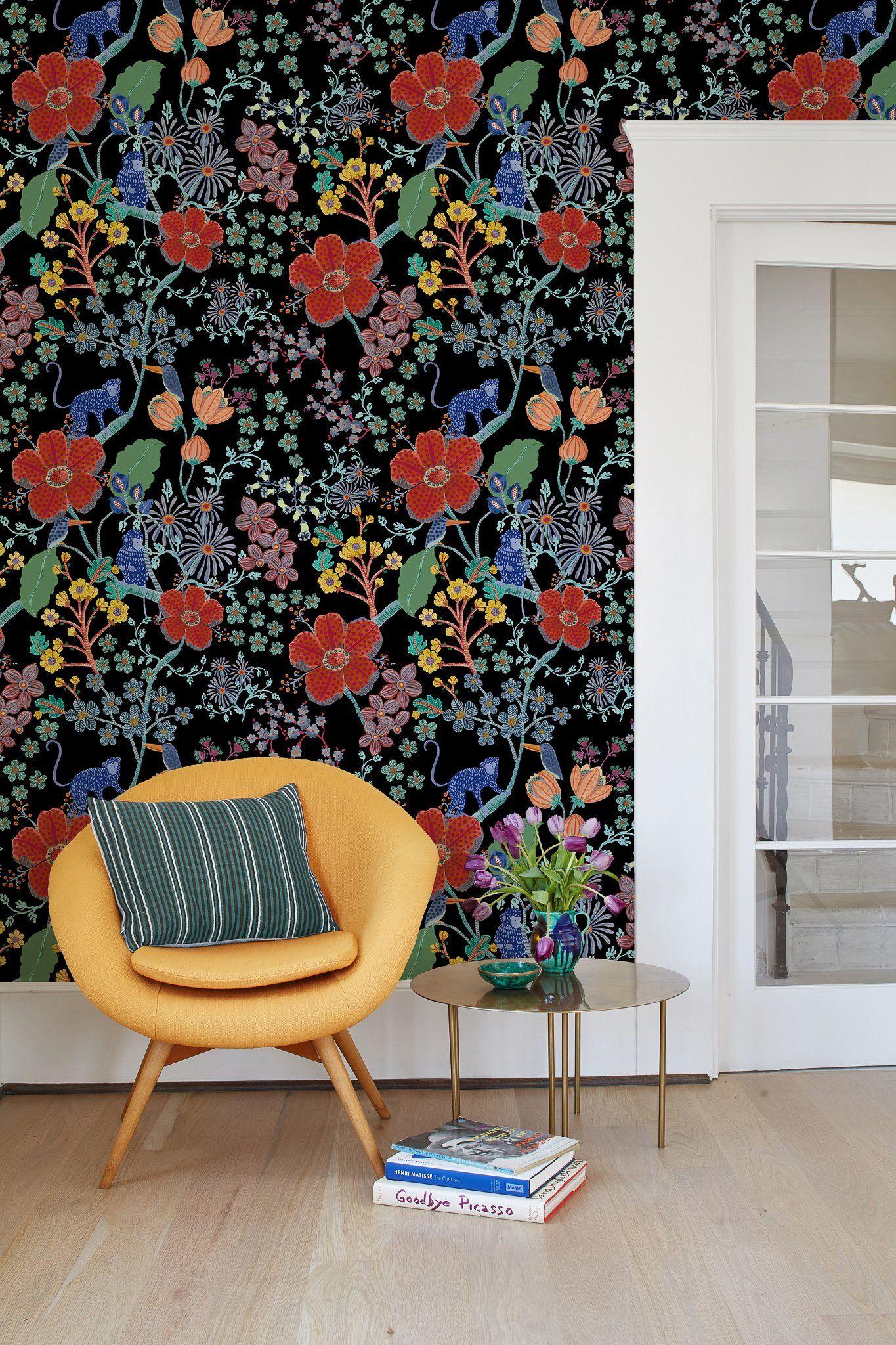Monkey Garden Wallpaper By Carly Home Black Funky Wallpaper Home Wallpaper Traditional Wallpaper
