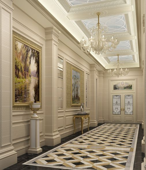 Classical Home Design Idea: Classic Corridor For Private Villa By Osama Elsousy
