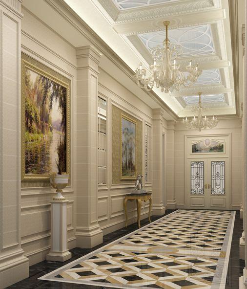 Classic corridor for private villa by osama elsousy for Private villa design