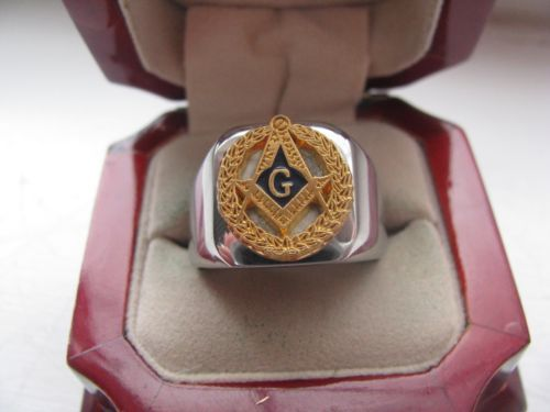 ccbe641afcd Superb NEW! Mens Masonic Masons Crest Stainless Steel Silver Ring ...