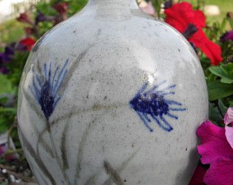 """Vintage Grey and Blue Wheat Design Vase $24.00 