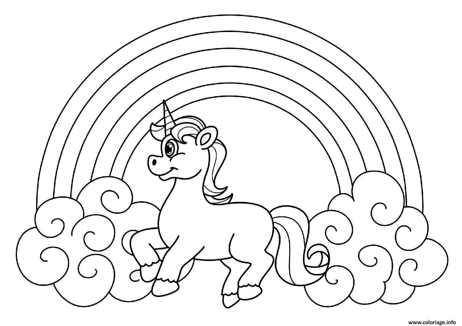 Coloriage licorne arc en ciel à imprimer en 2020 (avec images) | Arc en ciel dessin, Licorne ...