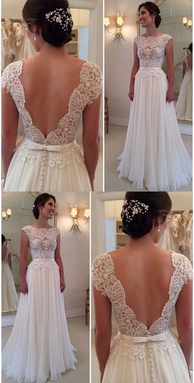 Backless Bridal Dress,Lace Bodice Prom Dress,Custom Made Evening Dress 79 – New Ideas