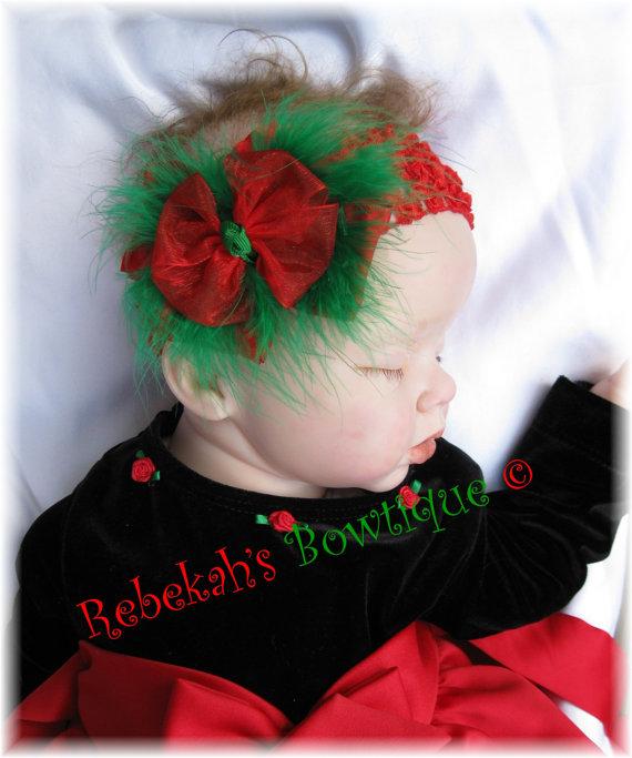 Red /& Green Headband Baby Girl Headband Newborn Headband Baby Christmas Bow Christmas Baby Headband Christmas Headband Baby Headband