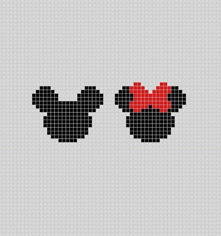 Silueta De Minnie Y Mickey Mouse Pixel Art Patterns Mickeymouse Party Disney Cross Stitch Patterns Disney Cross Stitch Cross Stitch Family