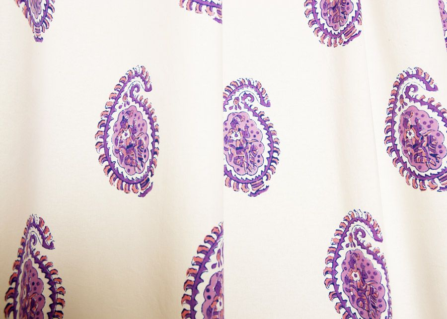 Paisley Curtains - Indian Shower Curtain - Hand Block Printed from ...