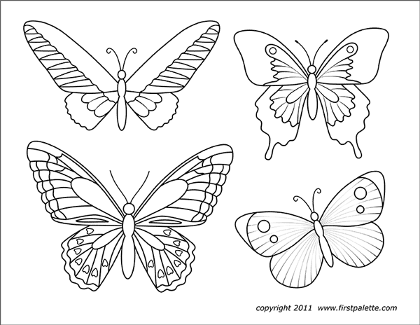 Nine Free Printable Butterfly Coloring Pages That Include Five