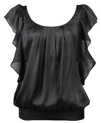 Dressy Tops for Jeans | This Satin Flutter Top is a great top for ...