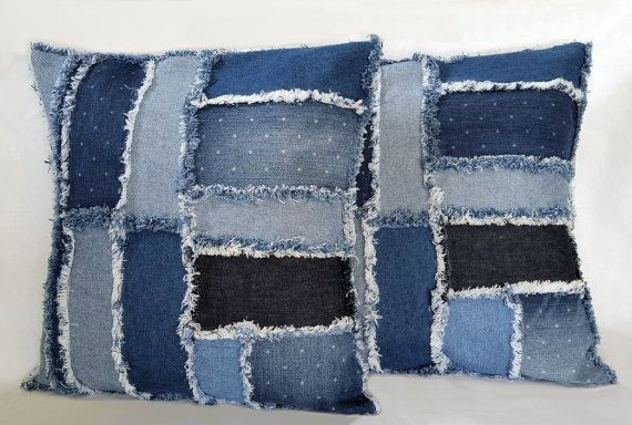 Upcycled Denim Pillow Set Handmade With Recycled By