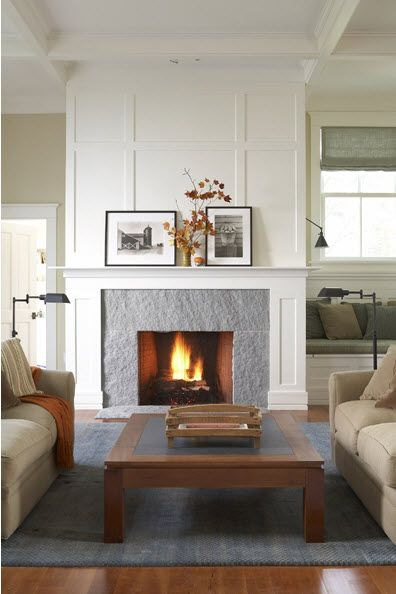 Fireplace Paneling Architectural Details White Woodwork Hardwood Floors Neutral Home Fireplace Fireplace Mantel Designs White Fireplace