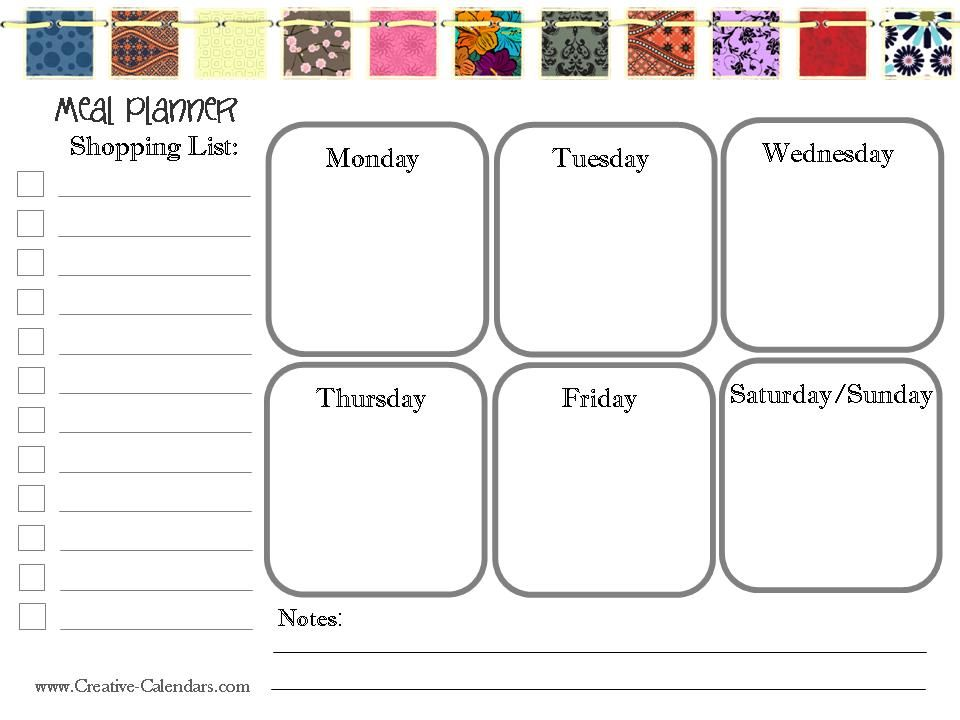 printable with grocery list and meals Planners Pinterest