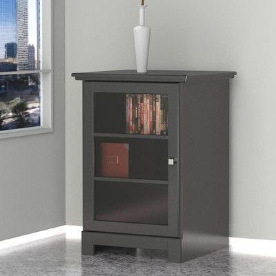 Andover Mills 1 Door Audio Tower In Black Adjustable Shelving Audio Cabinet Entertainment Furniture