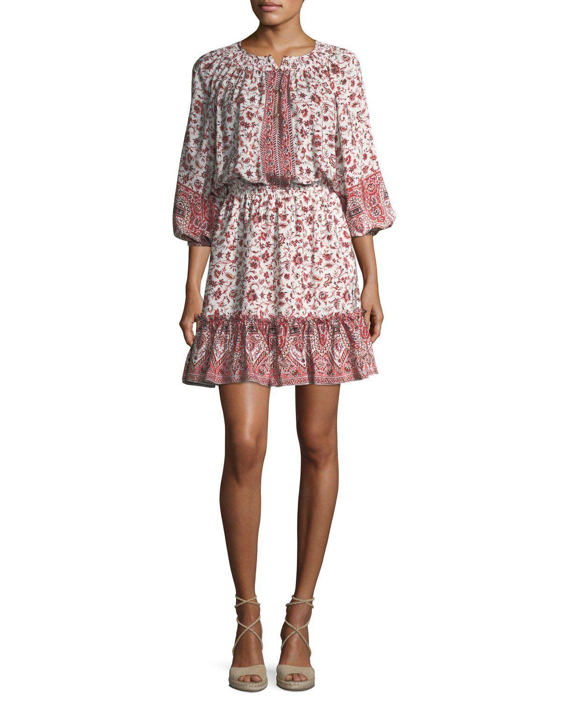 Pasadena Split-Neck Blouson Mini Dress   Mini dresses, Minis and Top ...