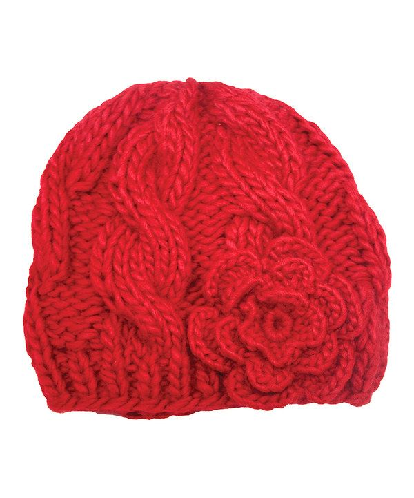 3ba281c2f00 Look at this Jeanne Simmons Accessories Red Flower Knit Beanie on  zulily  today!
