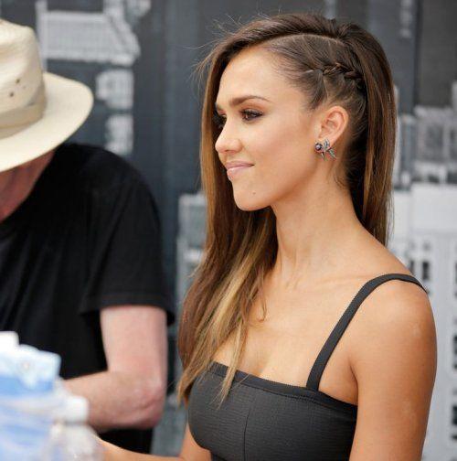 peinado con treza al lado Jessica Alba