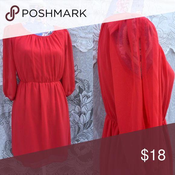 Selling this Crimson red sheer peekaboo sleeve dress large on Poshmark! My username is: kemurray333. #shopmycloset #poshmark #fashion #shopping #style #forsale #Dresses & Skirts