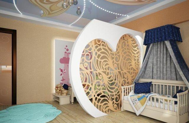 Raumaufteilung Kinderzimmer ~ Trennwand kinderzimmer kleinkind baby raumaufteilung goldene tönen
