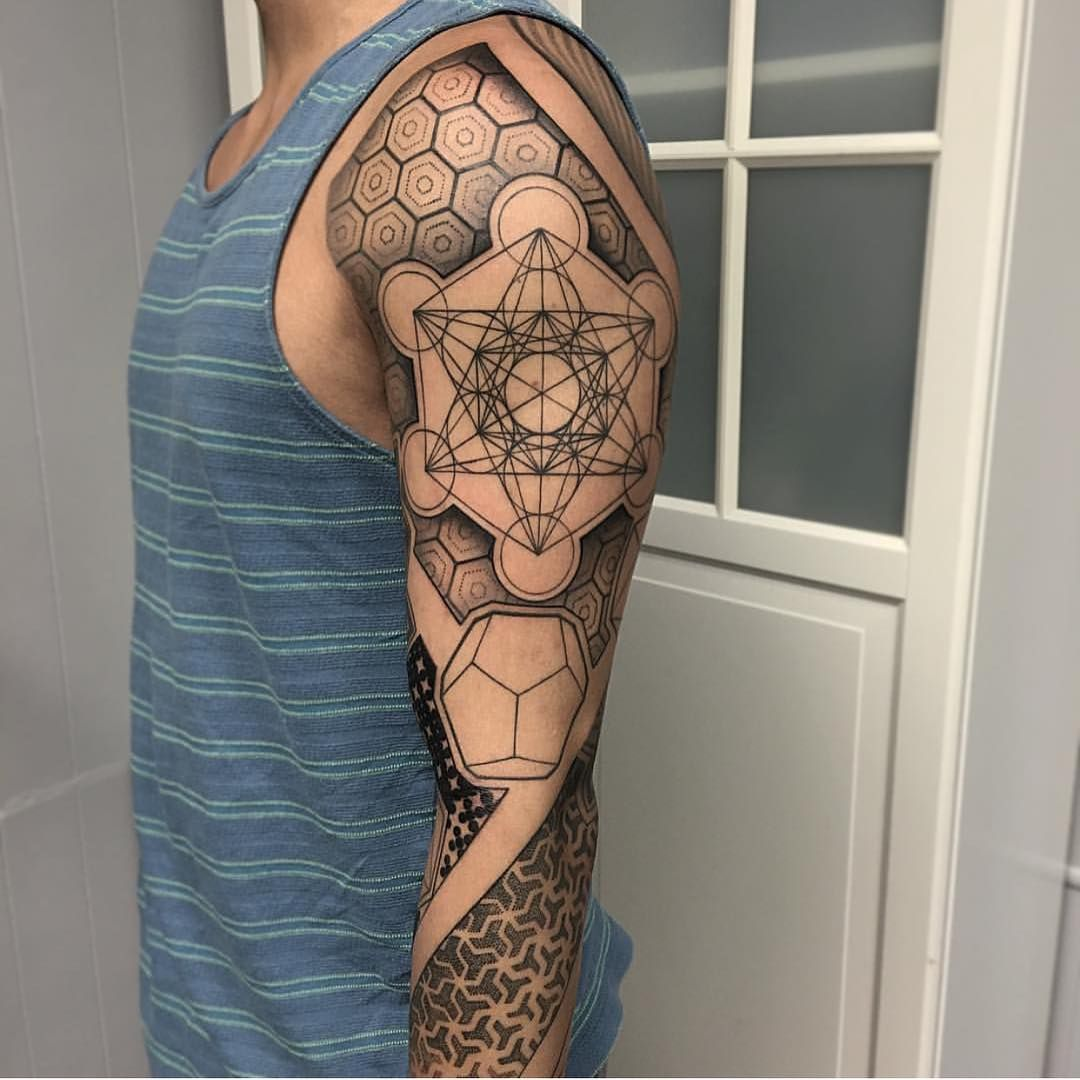 Geometric Tattoo Sleeve: Amazing Piece Done By Artist: @davidmushaneytattoos Out Of