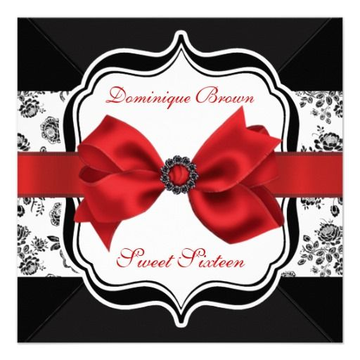 Floral Damask Invite with Red Bow $1.90