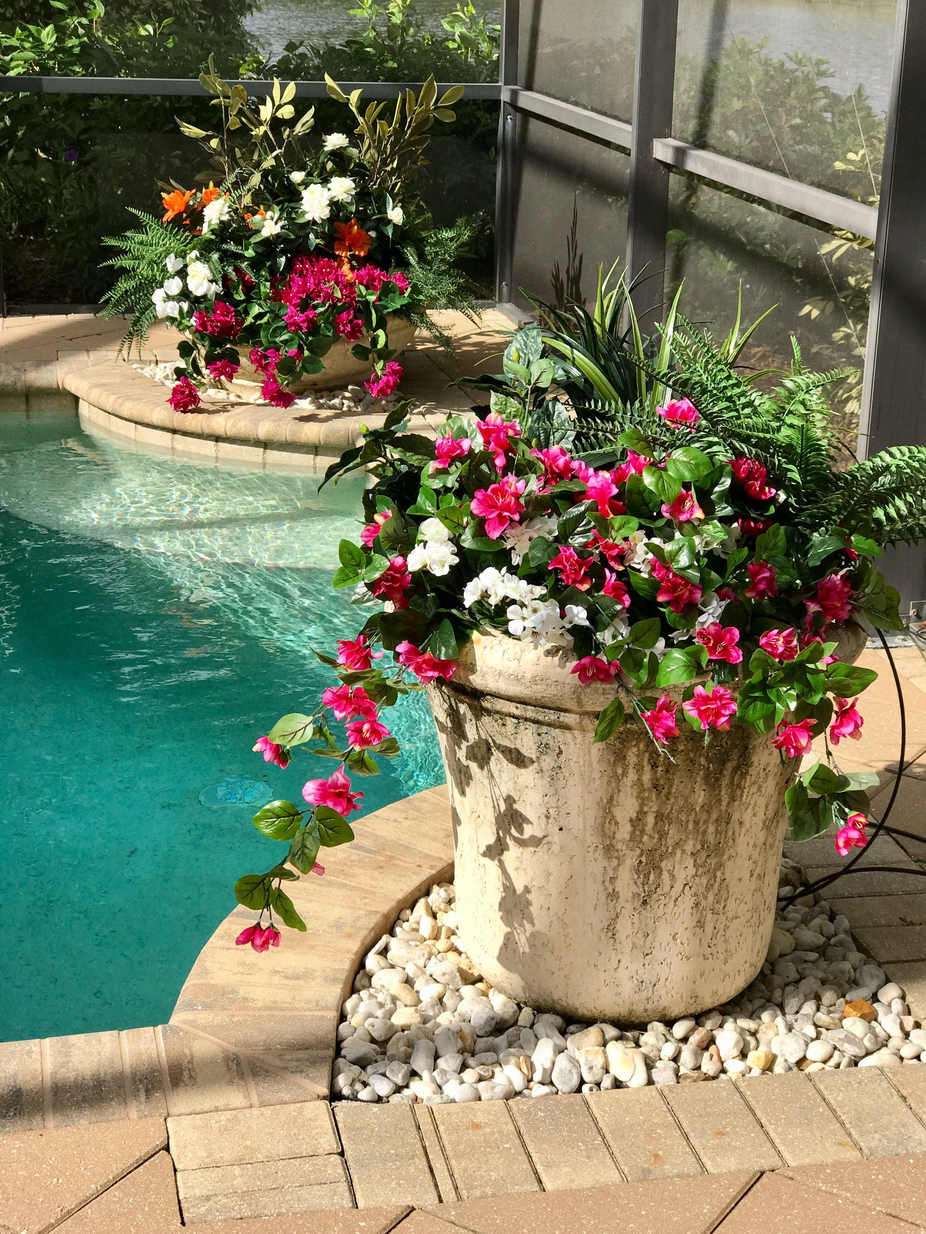 A Florida Pool Container Planting Of Assorted Outdoor Artificial Flowers And Greenery Custom Designed For Landscaping Around Pool Pool Plants Container Plants
