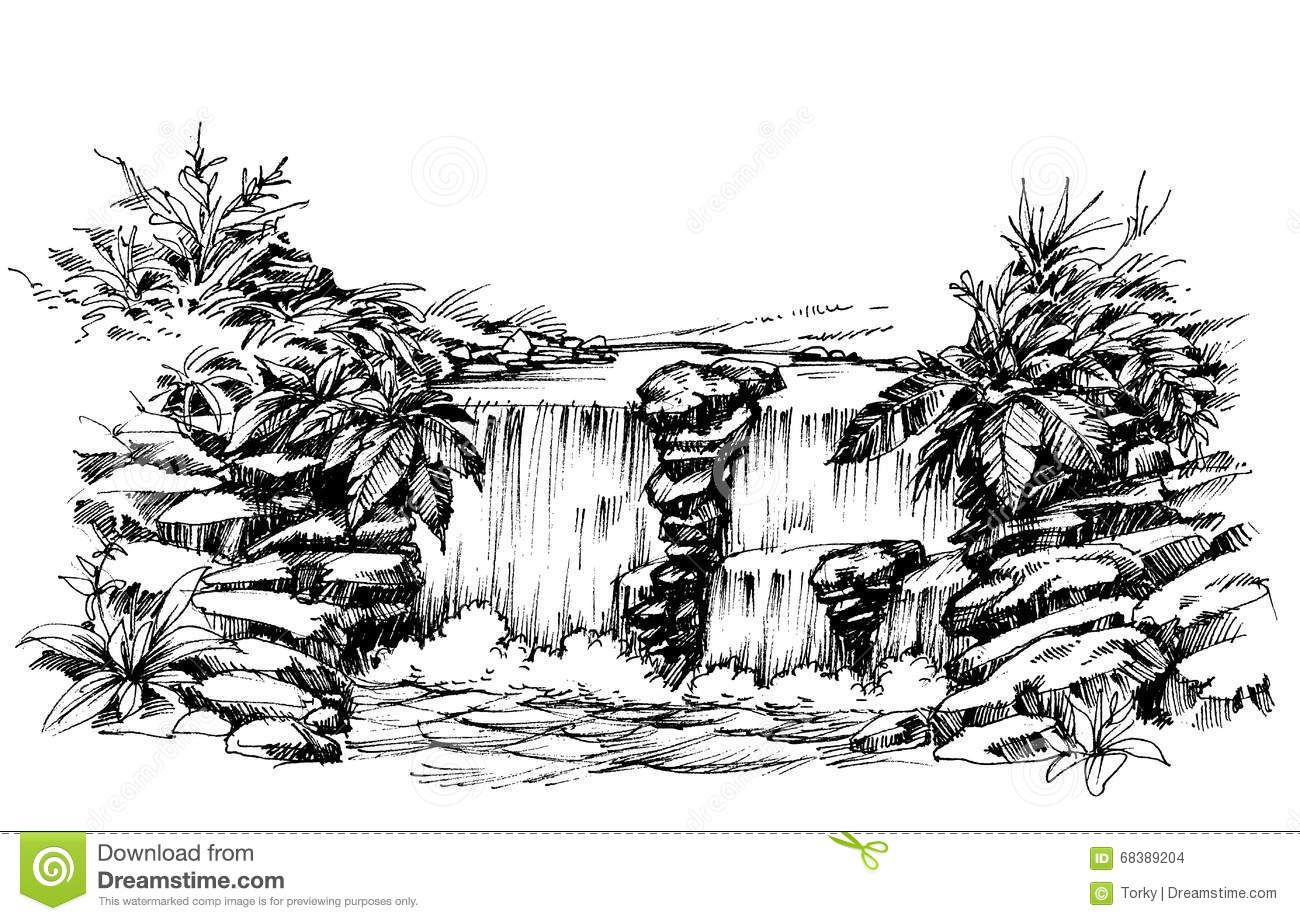 Waterfall Drawing Stock Vector