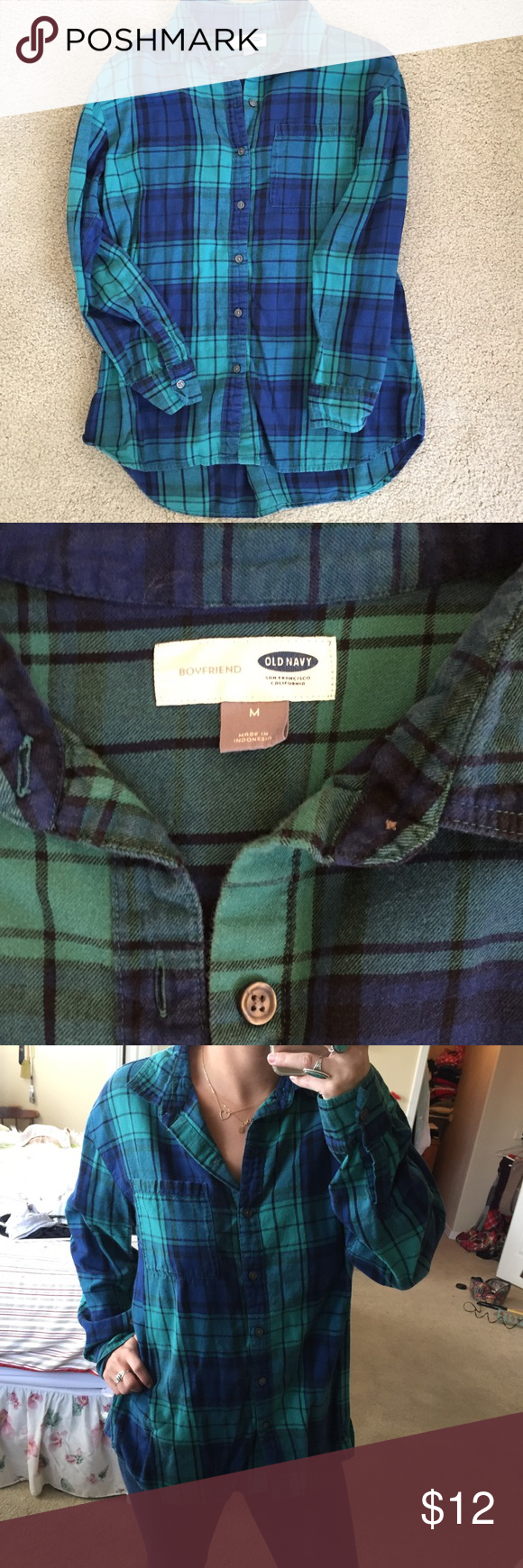 Dress up flannel shirt  Blue and Green Flannel Shirt  Green flannel shirt Green flannel