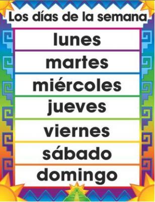 Calendar Basic Spanish Vocabulary Audio Lingua Garden