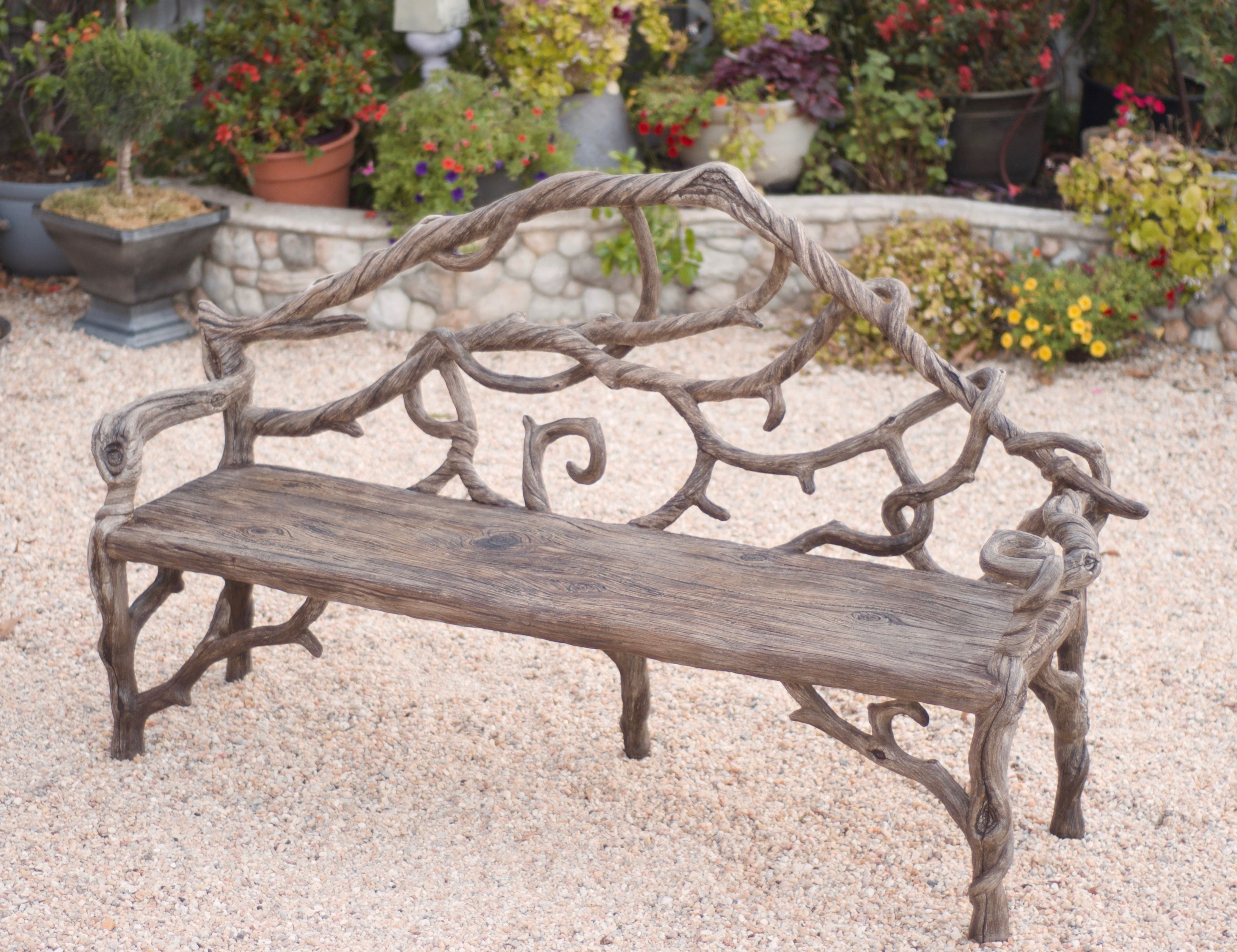 Diane Husson Creates Custom Concrete Faux Bois Garden Furniture Like This Bench For Her Nature Loving Clients