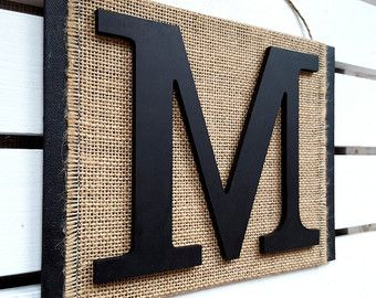 Monogram Letter Wall Hanging M Decor Burlap Sign Initial
