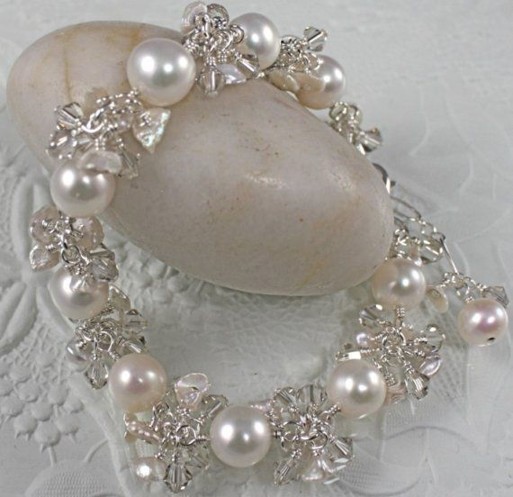 Pearl Wedding Bracelet - Sterling Silver Bridal Charm Bracelet- REAL PEARLS and SWAROVSKI Crystals