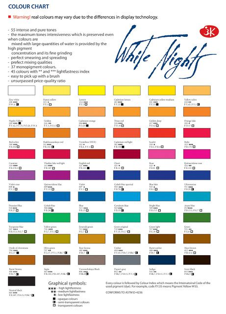White Nights Watercolours Updated August 2016 Paint Color