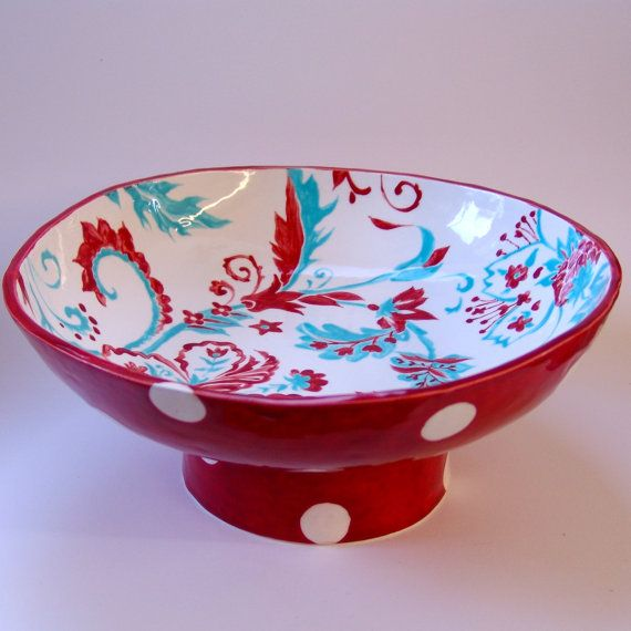 Huge Pottery Serving Dish Turquoise Red Ceramic Fruit Bowl
