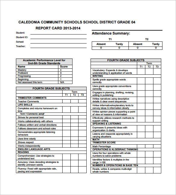 Kindergarten Report Card Template Report Card Template Kindergarten Report Cards School Report Card