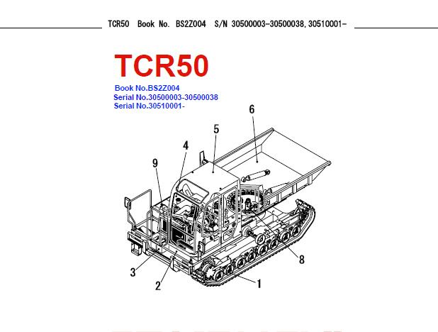 Takeuchi TCR50 Dump Carrier Parts Manual (S/N: 30510001