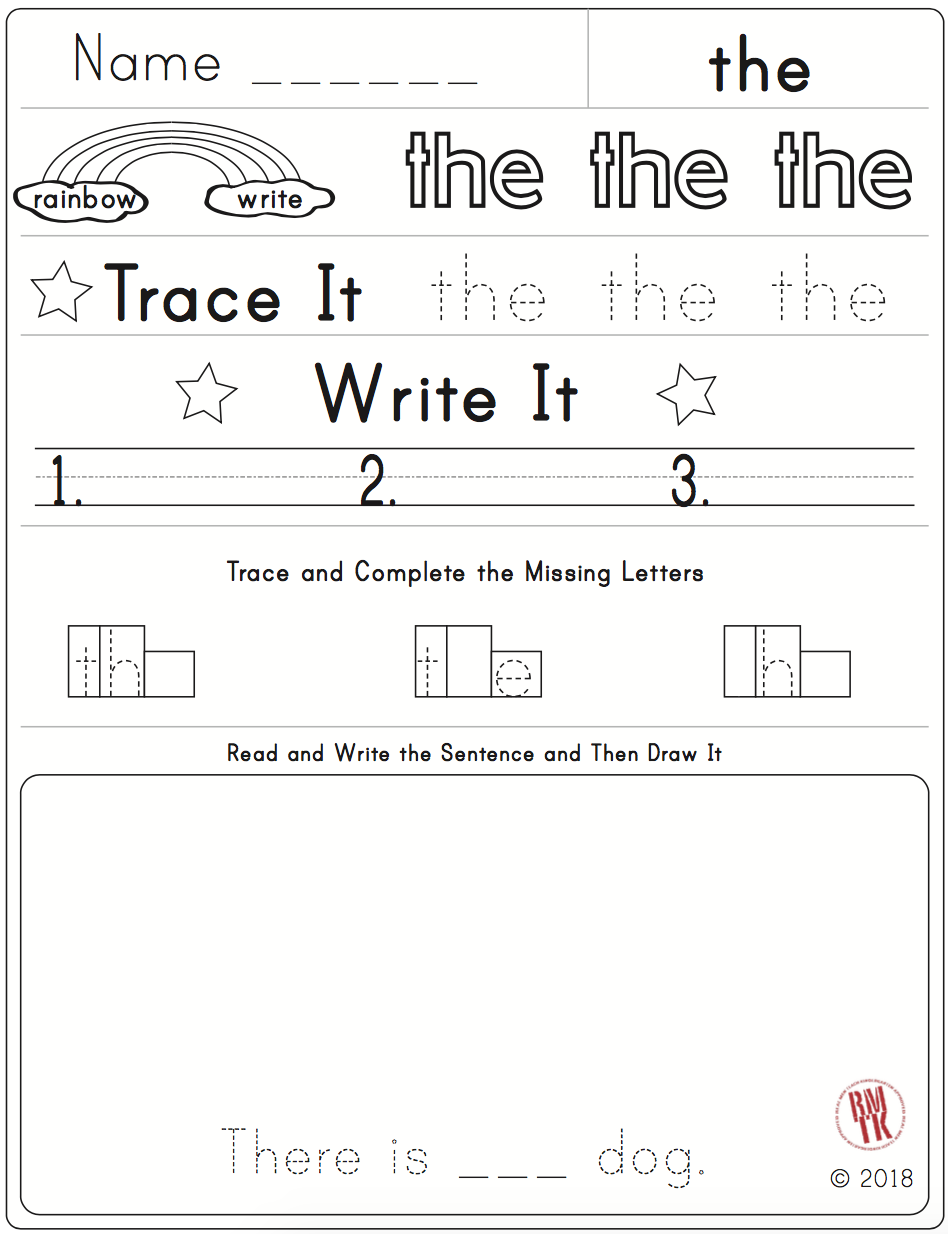 Free Sample From My First Sight Word Packet More To Come Kindergarten Worksheet Teacherspayteachers Sight Word Worksheets Sight Words Words [ 1234 x 948 Pixel ]