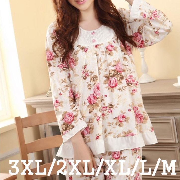 플러스 사이즈 여성 Pijama Feminino 잠옷 세트 M-3XL 긴 소매 봄과 가을 여성 꽃 인쇄 잠옷