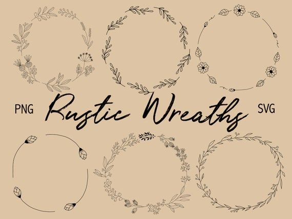 Photo of FLORAL WREATHS, hand-drawn wreaths, doodle clipart, floral wreaths, rustic, drawn wreaths, png, svg,