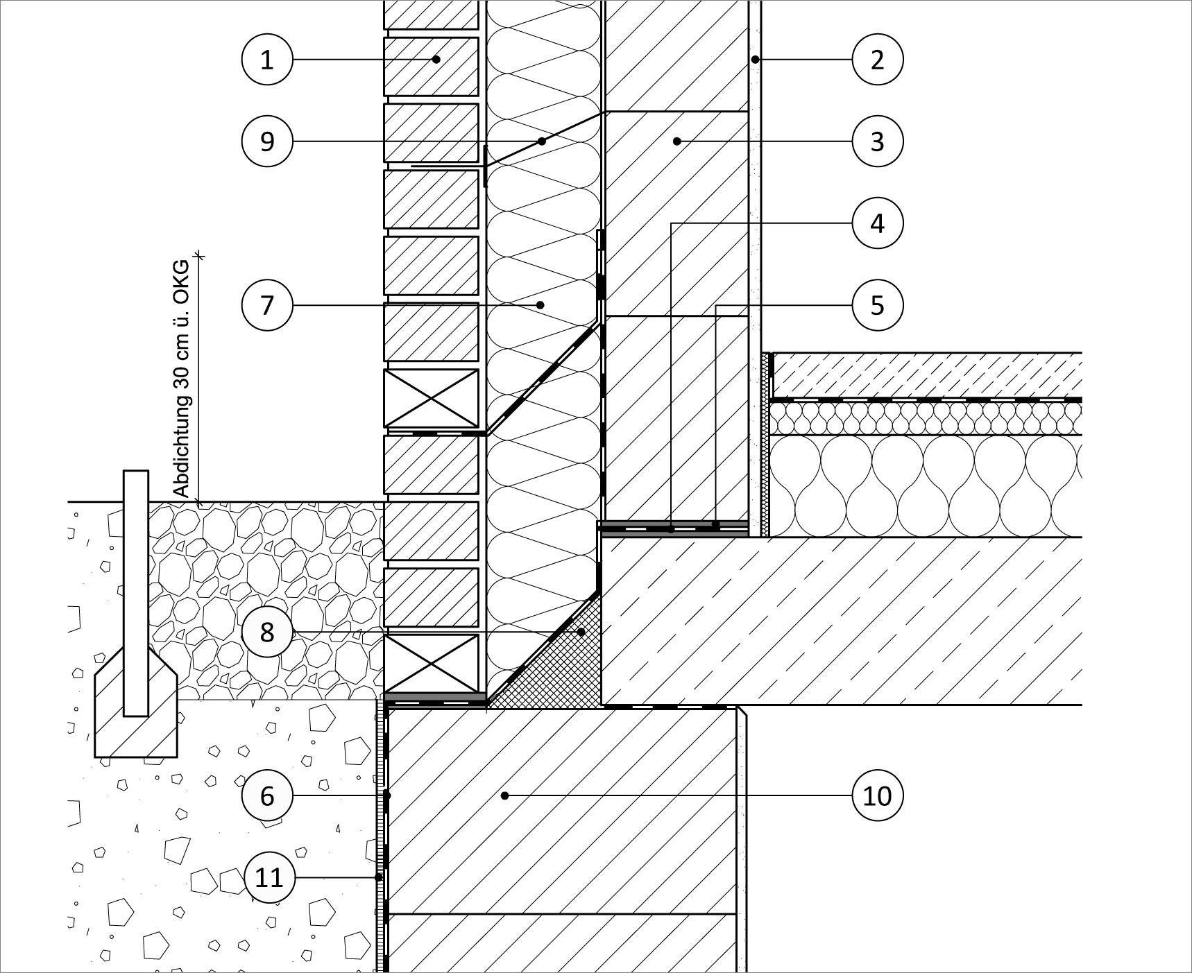 Vertikalschnitt mit Fundament und Decke (einschaliges