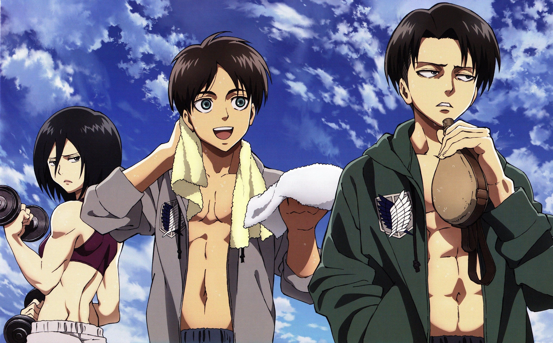 Eren Yeager, Mikasa Ackerman, Levi Ackerman, Aot Digital Print Download, anime Attack on Titan Poster, Shingeki no Kyojin Wallpaper