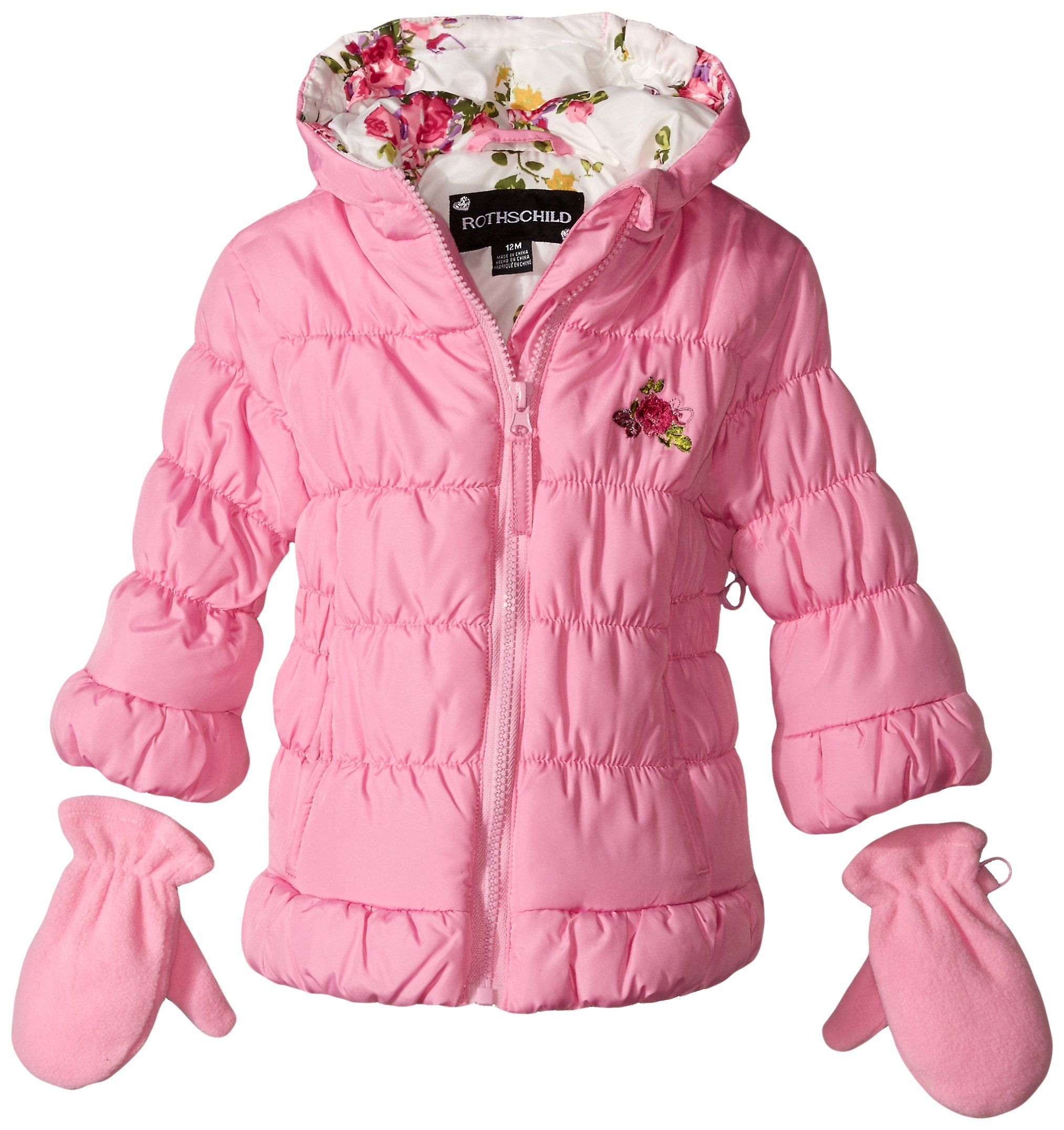 Rothschild Baby Girls Ruched Bubble Jacket Pink Crystal 18 Months
