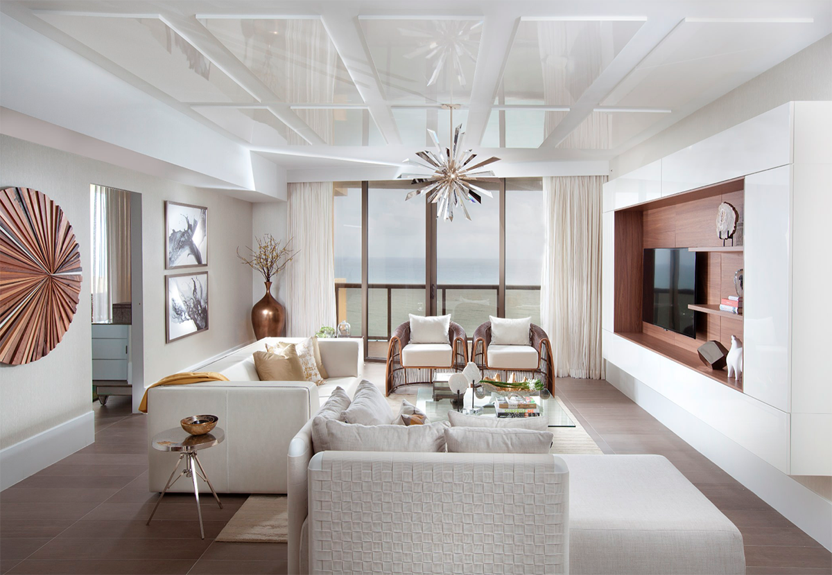 Elegant Modern style white and rose gold living room decor ...