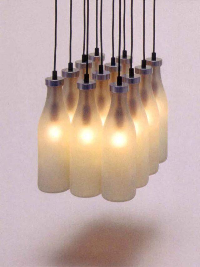 Milk bottle lamp by tejo remy