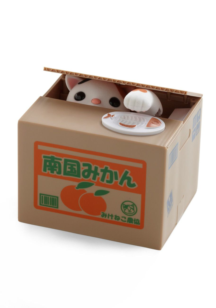 Cutest bank ever: place a coin on the plate atop the unassuming packing box, and watch as a clever kitty snatches your savings away.