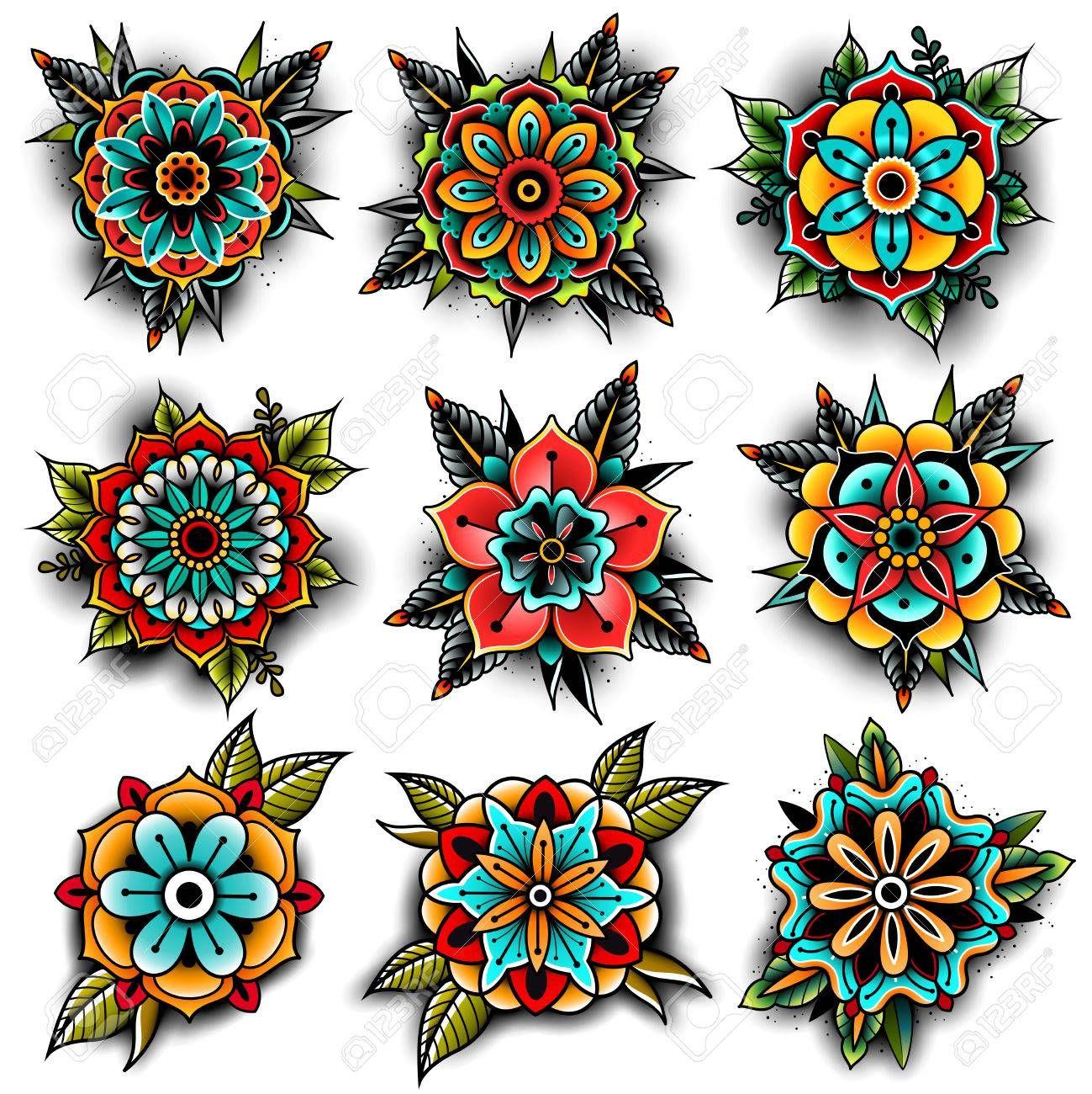 Photo of Ensemble de fleurs de tatouage old school
